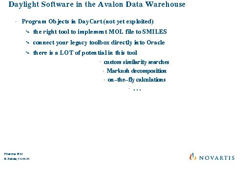 Daylight Software in the Avalon Data Warehouse